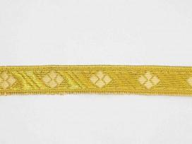 Goudkleurig sinterklaasband met een gouden ruit. Uitstekend geschikt voor Sinterklaaspakken en Zwarte Piet kleding. 15 mm. breed