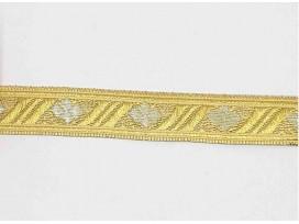 Goudkleurig sinterklaasband met een zilveren ruit. Uitstekend geschikt voor Sinterklaaspakken en Zwarte Piet kleding. 15 mm. bre