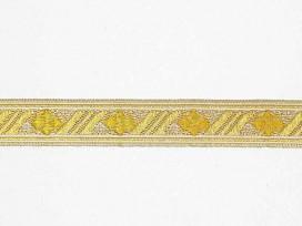 Zilver kleurig sinterklaasband met een gouden  ruit. Uitstekend geschikt voor Sinterklaaspakken en Zwartepiet kleding. 15 mm. br