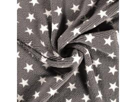 Honingraat fleece Grijs met witte sterren