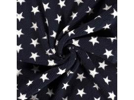 Honingraat fleece Donkerblauw met witte sterren