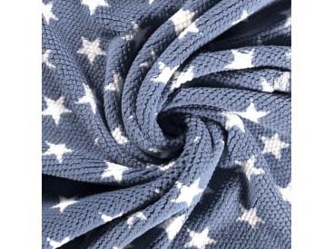 Honingraat fleece Jeansblauw met witte sterren