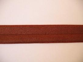 Bruin elastisch biaisband van 2 cm. breed.