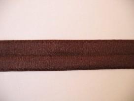 Donkerbruin elastisch biaisband van 2 cm. breed.