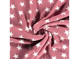 Honingraat fleece Oudroze met witte sterren