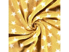 Honingraat fleece Okergeel met witte sterren