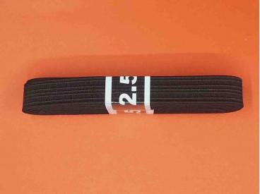 Een bundel stevig elastiek.  Zwart met een breedte van 15mm.  2.5 meter lang