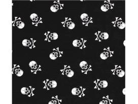 Poplin Katoen  Zwart/Wit met doodskopjes  Groot