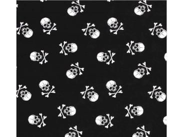Zwarte poplin/katoen met witte grote doodskopjes. Het doodskopje is 5 x 4 cm. 100% katoen 1.45 mtr. br.