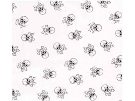 Poplin Katoen Wit/zwart met doodskopjes  Groot