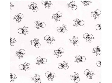 Witte poplin/katoen met zwarte grote doodskopjes. Het doodskopje is 5 x 4 cm. 100% katoen 1.45 mtr. br.
