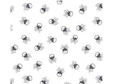Poplin Katoen Wit/zwart met doodskopjes  Middel