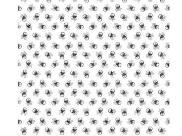 Witte poplin/katoen met zwarte kleine doodskopjes van 1 cm doorsnee.  100% katoen 1.45 mtr. br. 110 gram p/m2