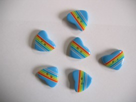 9zz Kinderknoop hart met streepjes blauw 100