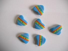 Kinderknoop hart met streepjes blauw 100