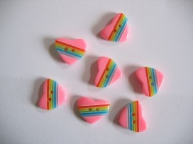 Kinderknoop hart met streepjes roze 101