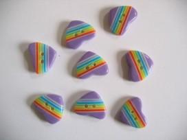 9zv Kinderknoop hart met streepjes paars 104