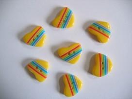 Kinderknoop hart met streepjes geel 105