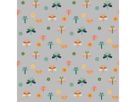 Dapper katoen Garden Garden Party  Lichtgrijs met libelles 15536-061