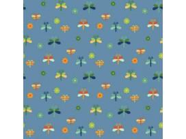 Dapper katoen Garden Party  Jeansblauw met libelles