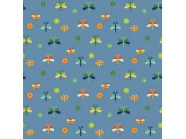 Dapper katoen Garden Party  Jeansblauw met libelles 15536-007