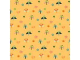 Dapper katoen Garden Party  Geel met libelles