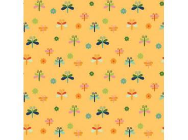 Dapper katoen Garden Party  Geel met libelles  15536-034