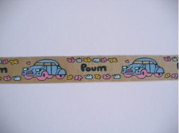 Sierband Car Poum Zand/blauw   O-802