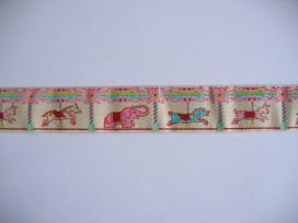 9w O sierband Draaimolen Zand/roze/groen 803