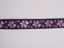 Sierband paars met bloemen   O-805
