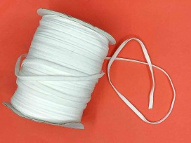 Wit stevig en zacht elastisch koord plat  5mm breed