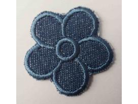 Donkerjeans bloem applicatie met een blauw randje