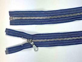 Zilver metalen rits deelbaar Jeansblauw gestreept 80 cm.