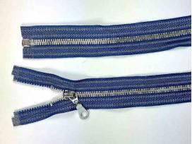 Zilver metalen rits deelbaar jeansblauw gestreept 55 cm.