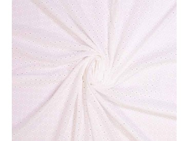Woven cotton broderie  White