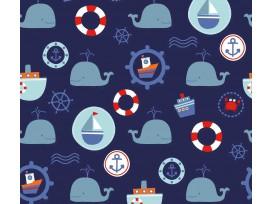 Maritiem  Donkerblauwe poplin met zeevaart print  15526-008N