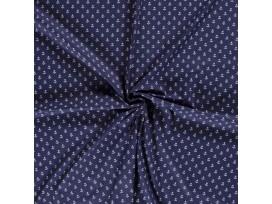Maritiem  Donkerblauwe polplin met witte ankertjes 15529-008N