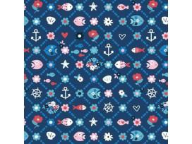 Maritiem  Donkerblauwe poplin met wieberprint bloem en vis 15531-008N