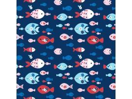 Maritiem  Donkerblauwe poplin met gekleurde visjes  15530-008N