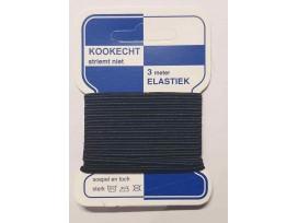 Soutache elastiek Zwart  kaartje met 3 mtr