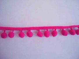 Bolletjesband pompom mini Pink  80cm lang