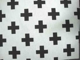 Decoratiestof. Ottoman binding. Wit met zwarte plus. De plus is 6.5 x 6.5 cm. 70% katoen/30% polyester 1.40 mtr. breed.  170 Gr.