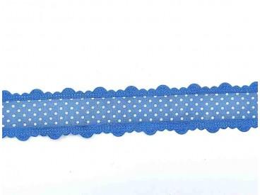 3d Sierband met stip en kantje Kobalt 1461-004