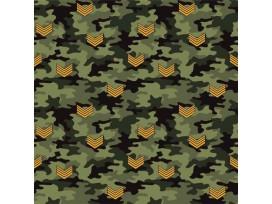Legerprint Groen met geel V embleem  15801-027N