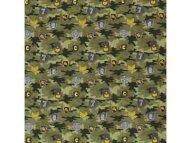 Legerprint  Groen met diverse emblemen  15797-027N
