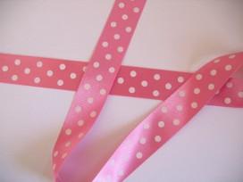 Satijnband Roze met stip 25mm