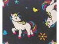 Poplin katoen Zwart met witte eenhoorns  15811-069N