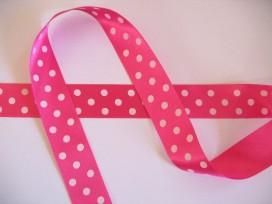Satijnband Pink met stip 25mm