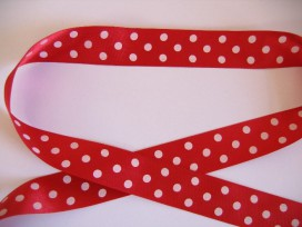 Satijnband Rood met stip 25mm