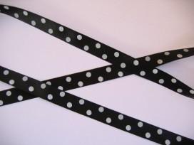 9c Satijnband Zwart met stip 15mm. 788